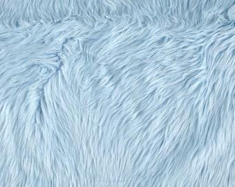 Baby Blue Shaggy Luxury Faux Fur Fabric by the yard