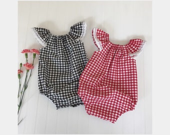 Baby romper Baby girl romper Lola romper in black and white gingham, Red and white gingham Toddler playsuit Summer playsuit Bubble romper