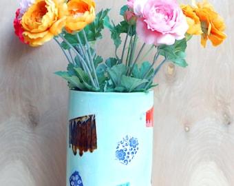 Large Ceramic Vase -Statement Vase - Modern Ceramics - Ceramics and Pottery-Turquoise/Brown/Orange/Red