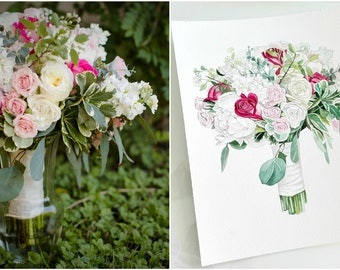 Custom Bridal Bouquet Painting Anniversary Gift Custom painting from photo ORIGINAL watercolor Gift for Mom Wedding bouquet painting