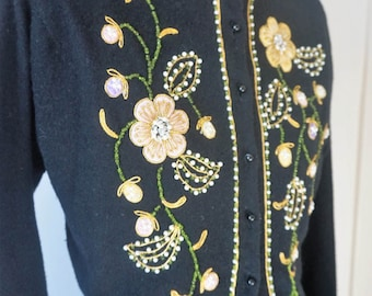 Stunning 1960s Black Cardigan Sweater w Gorgeous Beading and Embroidery