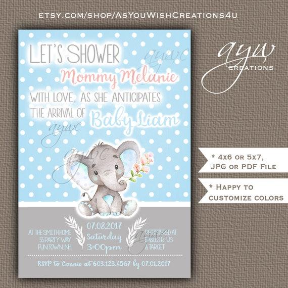 Cute elephant baby shower invitations boy blue grey cute like this item filmwisefo Gallery