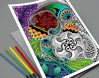 Zentangle Coloring Page - Instant Download Printable