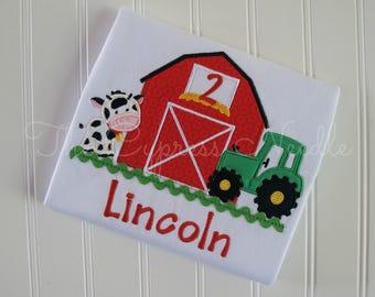 Farm Birthday Shirt, Barnyard Birthday Shirt, Tractor Birthday Shirt, Farm First Birthday, Barn Tractor Shirt, Cow Shirt, Tractor Shirt