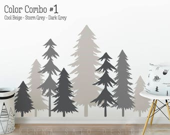 3 Color Pine Tree Forest Wall Decals - Tree Wall Decals, Forest Mural, Forest Scene Decals, Large Wall Decals, Children's Forest Decals