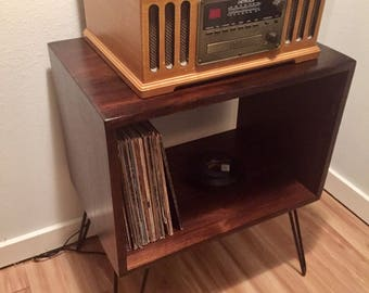 Pine Retro Rustic Mid-Century Record Player Stand on Hairpin Legs
