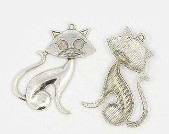 Large cat metal silver pendant (x 1)
