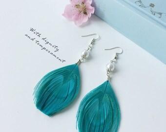 Handmade Design Blue Peacock Feather Earrings Pearl Earrings