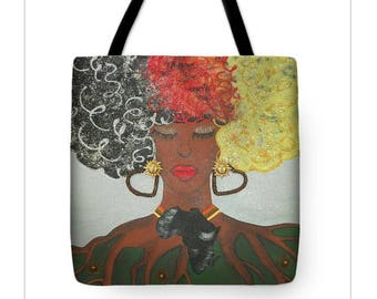 Mother Earth Africa Tote Bag, Afro Painting Tote Bag, Afrocentric Tote Bag
