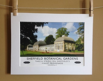 Sheffield Poster - Sheffield Botanical Gardens Poster - Travel Poster - A4 Poster- Retro Poster = Sheffield Art - Sheffield Print