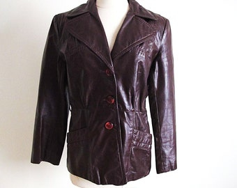 Chocolate Brown Jacket, Vintage Womens  60s Leather Jacket, Brown Leather Coat