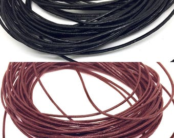 1 m leather cord, 1 mm, brown / black