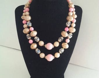 ON SALE Vintage Pink 2 Strand Necklace 1950s Retro Rockabilly Old Hollywood Regency Mid Century Collectible Vintage Jewelry