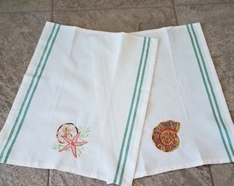 Embroidered Seashell Tea Towels Kitchen Towels Bath Accessories Nautilus Starfish Sand Dollar Green Stripe Set of Two