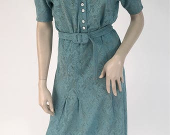 Vintage Late 1930s Early 1950s Turquoise Dress w Matching Belt Med/Lg