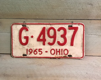 1965 Ohio License Plate Red and White G 4937