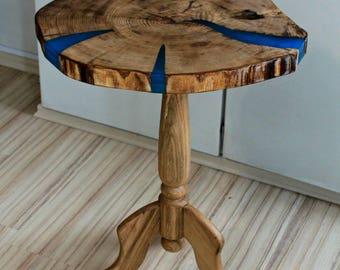 Exclusive bedside table oak glowing side table