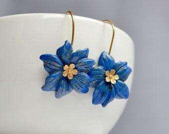 Lapis earrings, flower earrings, royal blue and gold earrings, forget me not earrings, under 30USD, gift for her