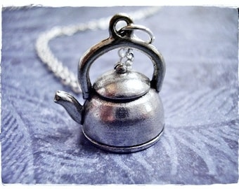 Silver Tea Kettle Necklace - Antique Pewter Tea Kettle Charm on a Delicate Silver Plated Cable Chain or Charm Only