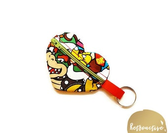 Heart Zippered Coin Pouch - Heart Shaped Coin Purse - Heart Keychain - Heart FOB - Add-on - Made to Match