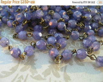 ON SALE NEW Handmade Linked Beaded Chain with Milky Orchid Luster 6mm Faceted Czech Glass Beads