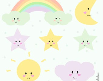 Kawaii Weather Clipart - Weather Clipart - Pastel Clipart - For Personal and Commercial Use - Kawaii Clip Art
