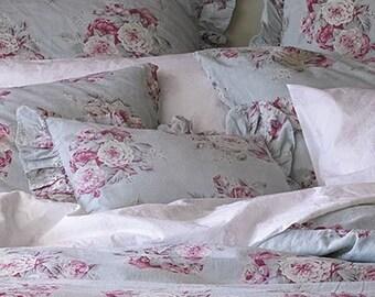 "Rachel Ashwell Shabby Chic LINEN fabric  Manor floral ""Vintage Barkloth look"" by Yard blue w flowers"