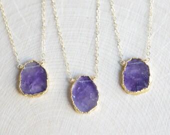 Amethyst Necklace, February Birthstone, Gold Filled, Raw Amethyst Slice with Gold Electroplate, Rough Amethyst Gemstone, Rustic Boho Gypsy