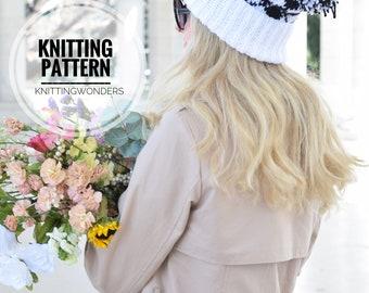 KNITTING PATTERN ⨯ Argyle Beanie Hat, Knit Slouch Hat, Slouchy Knit Hat ⨯ Easy Knit Pattern ⨯ Fair Isle Hat Pattern PDF, Beanie Hat Pom Pom
