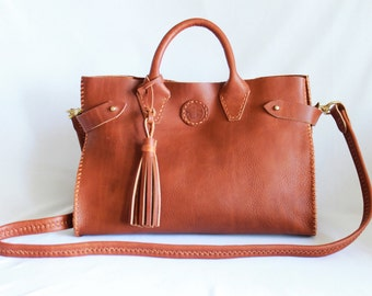 RESERVE FOR CLAIRE:  Sadie Leather Doctor's Bag in Sienna Leather by Beargrass Leather, Horween Leather, Made in Montana