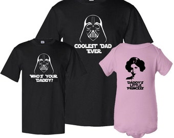 Fathers Day Matching Father / Son / Daughter Three Piece Set Dad T-shirt and Kids Shirt / Bodusuit Father's Day Gift Idea