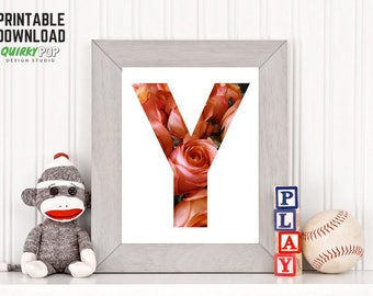 "Floral Letter ""Y"" - Digital Print for Instant Download"