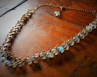 Labradorite Necklace, 14K Gold Filled, Blue Flash Labradorite