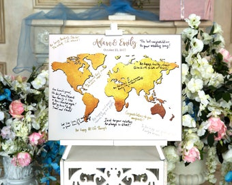 World Map CANVAS Wedding Guest Book Canvas Guest book Alternative Wedding Guestbook Wedding Custom Guest Book World Map Golden