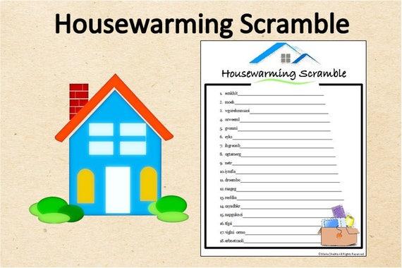Instant Download Housewarming Word Scramble GamePrintable