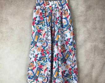 Vintage Cotton Skirt - Size 10 - Small - Jantzen - Hawaiian - Extra Soft - 80's 90's - Elastic Waist - Long -