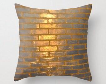 Throw Pillow | Golden Bricks | Modern Abstract Texture Gold Decor | Size and Price via Dropdown
