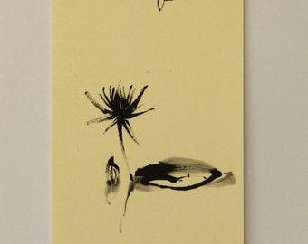 Flower ink drawing, mini art, water lily art, ink mini painting, Japanese art, flower art, mini drawing, flower painting, Reina Kobayashi
