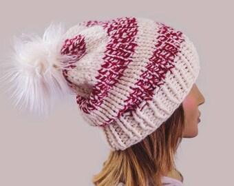 Knit Pom Beanie | READY TO SHIP | Slouchy Beanie | Womens Beanie