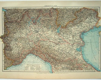 Northern Italy: Original 1896 Map by Velhagen & Klasing. Antique