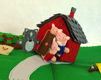 The Three Little Pigs and the Big Bad Wolf pop-up book, Pop-up book, quiet book, felt book, 3D Book, pig finger puppet, wolf finger puppet