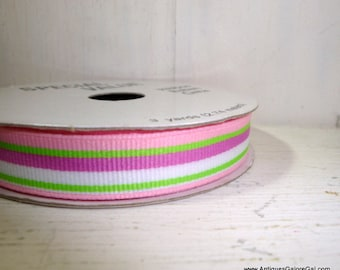 Ribbon Spool, Crafting, Pink, Purple, Green, White Stripes, 100% Polyester, 3 Yards  (832-15)
