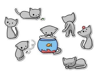 Grey Kitten Stickers, Cat Paper Stickers, Journaling, Sticker Flakes, Stationery, Scrapbooking, Jonesy, Sweet Kitten, Kawaii Cat, Curiousity