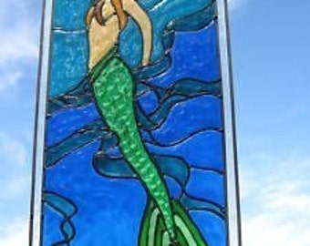 Mermaid in seaweed ocean nautical stained glass window