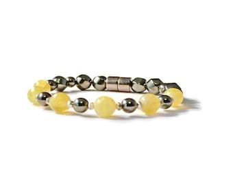 Black Magnetic Hematite Bracelet with Yellow Gemstones and Antique Silver, Arthritis Jewelry