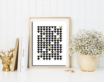 Gold foil print, Geometric poster, scandinavian wall art, triangle art, Geometric decor, nordic print, abstract geometric, minimalist art