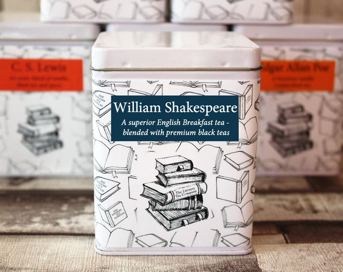Featured listing image: William Shakespeare Inspired Tea - Playwright - Literary Tea Collection - Tea Gift - Literary Tea Gift - Bookish Gift - Author Gift - Tea