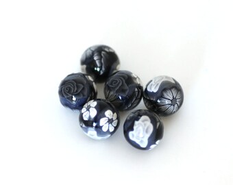 Polymer Clay Beads, Black and White Beads, Round Bead Set, Rose Design, 6 Pieces