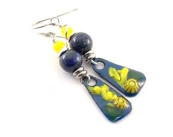 Handmade Earrings, Enameled Earrings, Blue With Yellow Flower Earrings, Silver, Artisan Earrings, Boho Earrings, Flower Earrings, AE164