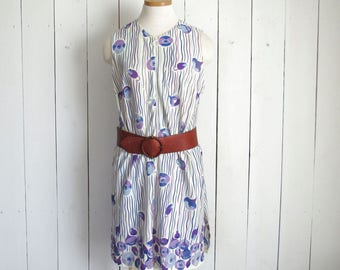 Mod Mini Dress 60s Abstract Floral Print Vintage Zip Up Dress with Matching Bloomers White Blue Purple Alex Coleman Medium